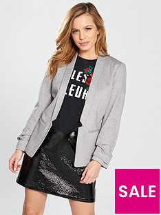 miss-selfridge-petite-ponte-blazer-grey