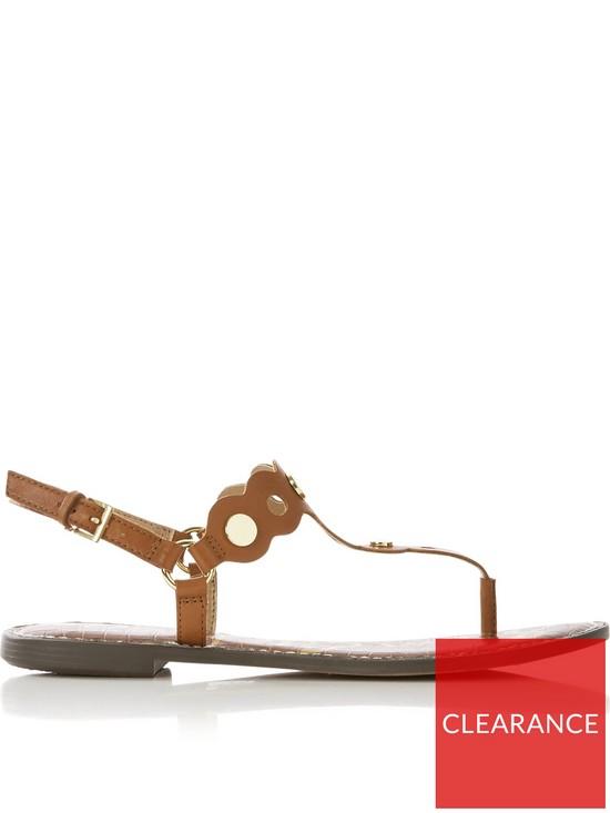 573b38f38b4e61 SAM EDELMAN Gilly Vaquero Leather Flat Sandals - Tan