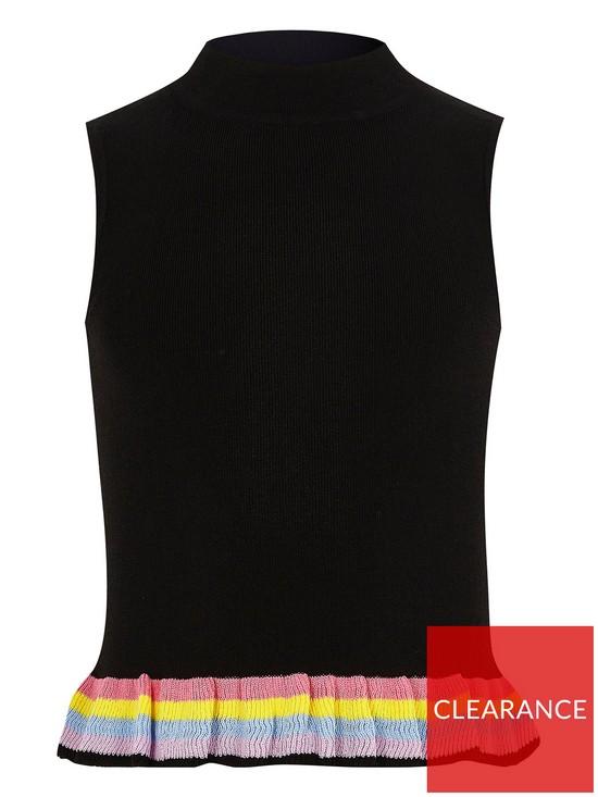 97e9babd5967b2 River Island Girls black rainbow hem sleeveless top   very.co.uk