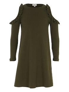 river-island-girls-khaki-ribbed-cold-shoulder-dress