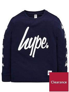 hype-boys-long-sleeved-navy-script-t-shirt
