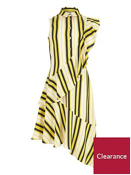 river-island-girls-yellow-stripe-frill-shirt-dress