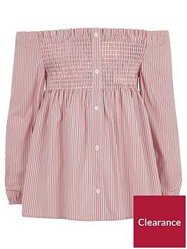 river-island-girls-pink-stripe-print-bardot-top