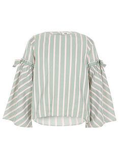 river-island-girls-stripe-bow-bell-sleeve-top