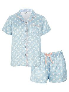 river-island-girls-blue-polka-dot-pyjama-shirt-set