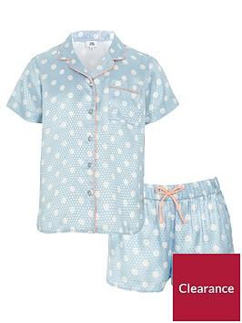 river-island-girls-blue-polka-dot-pyjama-shirt-set