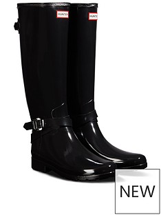 hunter-hunter-refined-back-adjustable-tall-with-ankle-strap-gloss-welly
