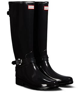 Hunter Hunter Refined Back Adjustable Tall With Ankle Strap Gloss Welly
