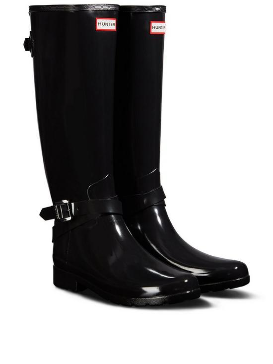 Hunter Refined Back Adjustable Tall Gloss Welly - Black  c382c6123
