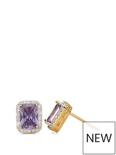 love-gem-sterling-silver-gold-plated-emerald-cut-amethyst-and-white-cubic-zirconia-stud-earrings