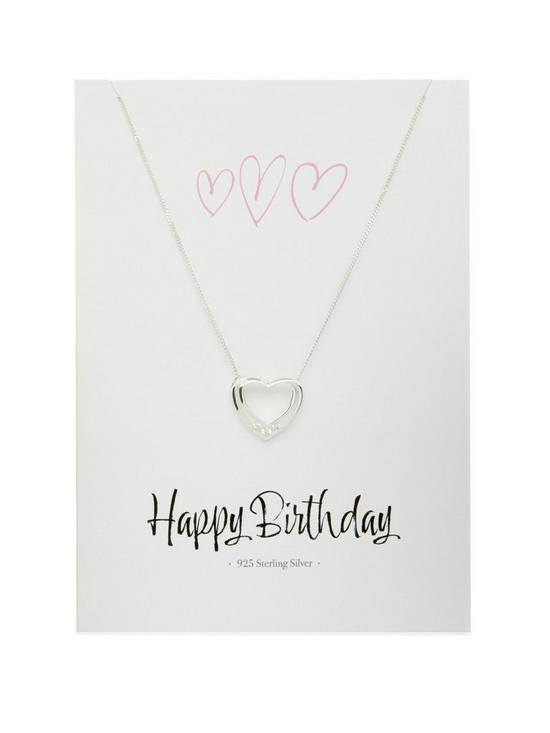 Sterling Silver Cubic Zirconia Happy Birthday Heart Pendant And Greeting Card