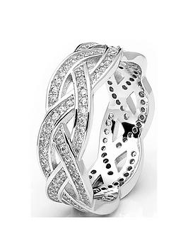 the-love-silver-collection-sterling-silver-rhodium-plated-cubic-zirconia-crossover-ring
