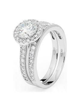 the-love-silver-collection-sterling-silver-cubic-zirconia-rhodium-plated-halo-bridal-ring-set