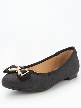 Head Over Heels Haze Bow Ballerina Shoe - Black