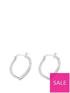 2c82c1d04 The Love Silver Collection STERLING SILVER DOUBLE CRYSTAL SET HEART SHAPED CREOLE  EARRINGS