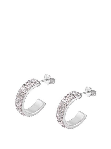 the-love-silver-collection-sterling-silver-crystal-paveacutenbsphalf-hoop-earrings
