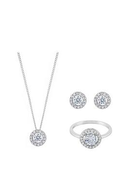 the-love-silver-collection-sterling-silver-halo-cubic-zirconia-pendant-earring-and-ring-set