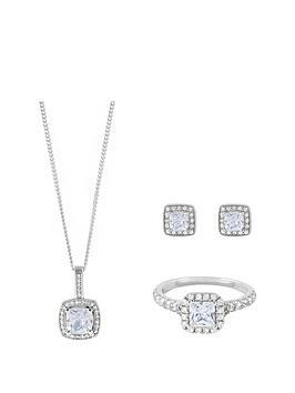 the-love-silver-collection-sterling-silver-princess-cut-cubic-zirconia-pendant-earring-and-ring-set