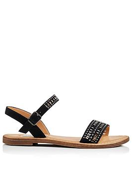 Head Over Heels Lira Embellished Flat Sandal - Black