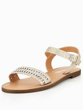 Head Over Heels Lira Embellished Flat Sandal - Gold