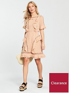 v-by-very-circular-ladder-trim-dress-peach