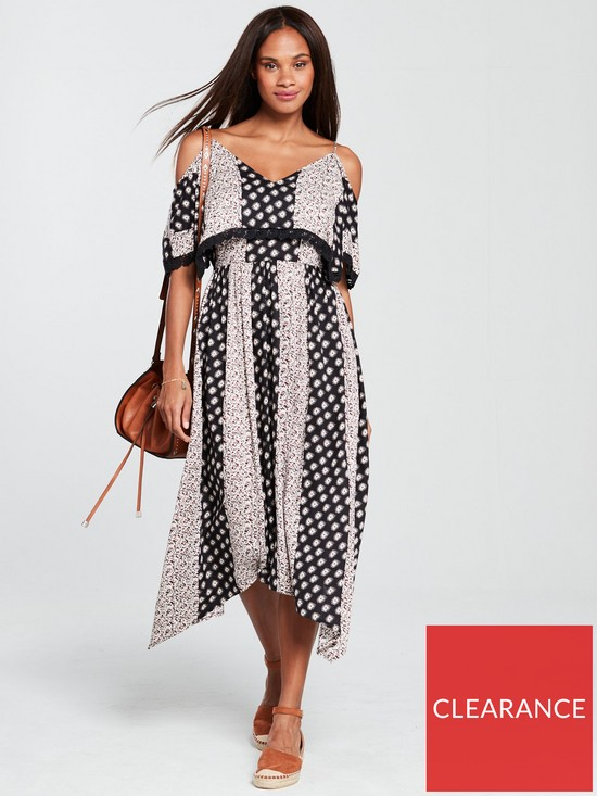 ad0851b850a12 V by Very Cold Shoulder Midi Dress - Printed | very.co.uk