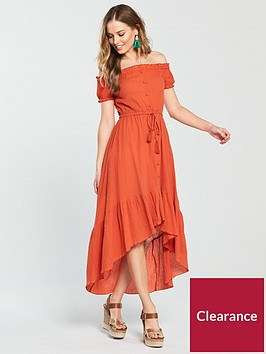 v-by-very-button-up-high-low-cheesecloth-dress-rust