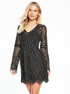 miss-selfridge-bell-sleeve-lace-dress-black