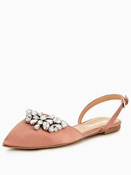 Head Over Heels Hetty Embellished Two Part Point Ballet Shoes - Blush