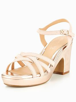 Head Over Heels Jaclyn Through Platform Sandal - Rose Gold