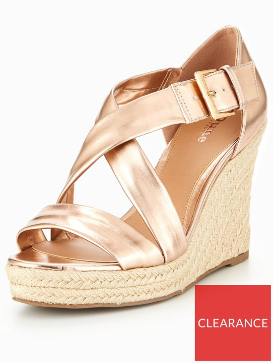 31f6607db31 Head over Heels Kissimo Cross Strap Wedge Sandals - Rose Gold