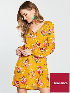 v-by-very-ladder-trim-printed-tunic-dress-mustard-print