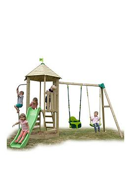 tp-castlewood-tower-with-slide-pole-amp-quadpod-swing