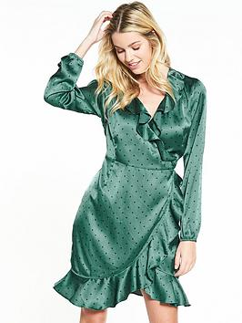 Vero Moda Henna Satin Dot Wrap Long Sleeve Dress - Green
