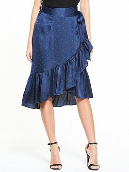 Vero Moda Henna Satin Dot Wrap Skirt