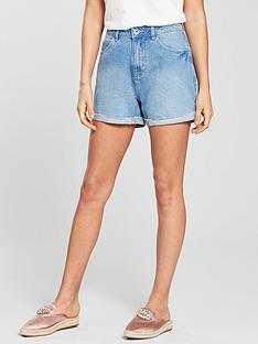 vero-moda-high-waisted-shorts-light-blue-denim