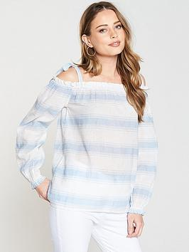 Vero Moda Cerulean Cold Shoulder Top - White/Blue