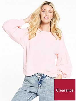 noisy-may-loui-puff-sleeve-sweat-barely-pink