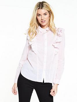 Noisy May Jack Long Sleeve Frill Shirt - Barely Pink