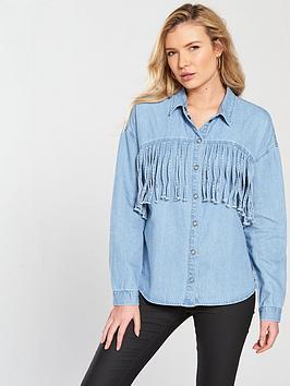 Noisy May Grace Long Sleeve Fringe Shirt - Light Blue Denim