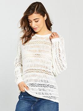 Noisy May Tam Long Sleeve Crochet Knit Jumper - Snow White