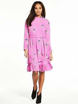 Vero Moda Elena Long Sleeve Tiered Printed Tea Dress - Mauve