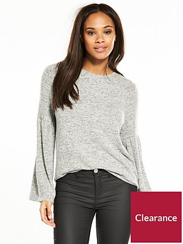 vero-moda-roya-bell-sleeve-knitted-top-grey