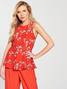 vero-moda-lala-sleeveless-midi-top-with-asymmetrical-hem-poppy-red