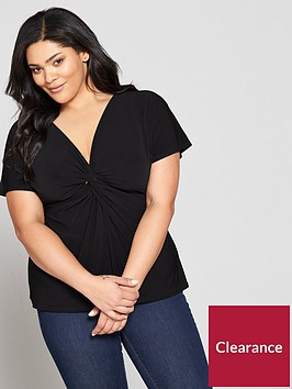 v-by-very-curve-knot-front-jersey-top-black