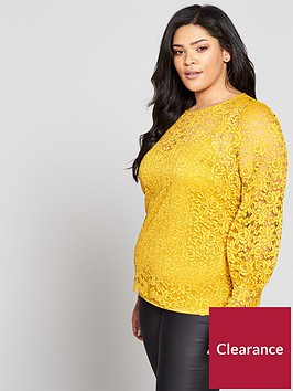 v-by-very-curve-ruched-sleeve-lace-top-mustard