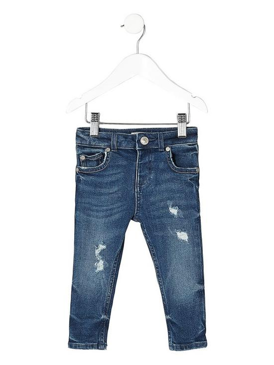 6cfcc700ec4 River Island Mini Mini boys distressed Sid skinny jeans - blue ...