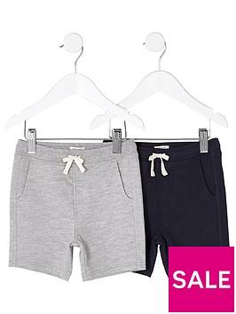 river-island-mini-boys-grey-and-navy-shorts-multipack