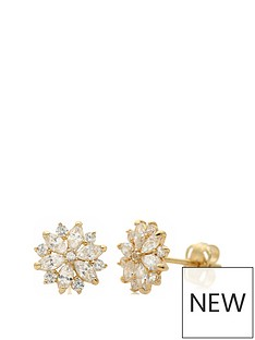love-gold-9ct-yellow-gold-cubic-zirconia-flower-stud-earrings
