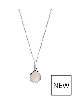 the-love-silver-collection-sterling-silver-organic-oval-rose-quartz-semi-precious-october-birthstone-pendant